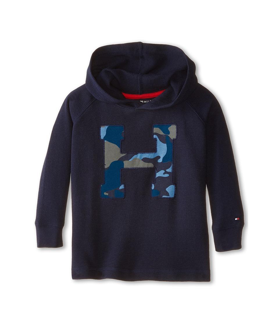 Tommy Hilfiger Kids - Long Sleeve Camo Hoodie (Toddler/Little Kids) (Swim Navy) Boy's Sweatshirt