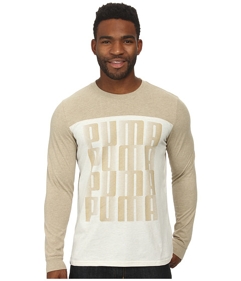 PUMA - Graphic Long Sleeve Tee (Brown) Men