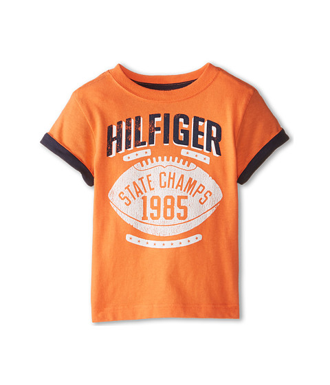 Tommy Hilfiger Kids - Short Sleeve State Champs Tee (Toddler/Little Kids) (Light Orange) Boy