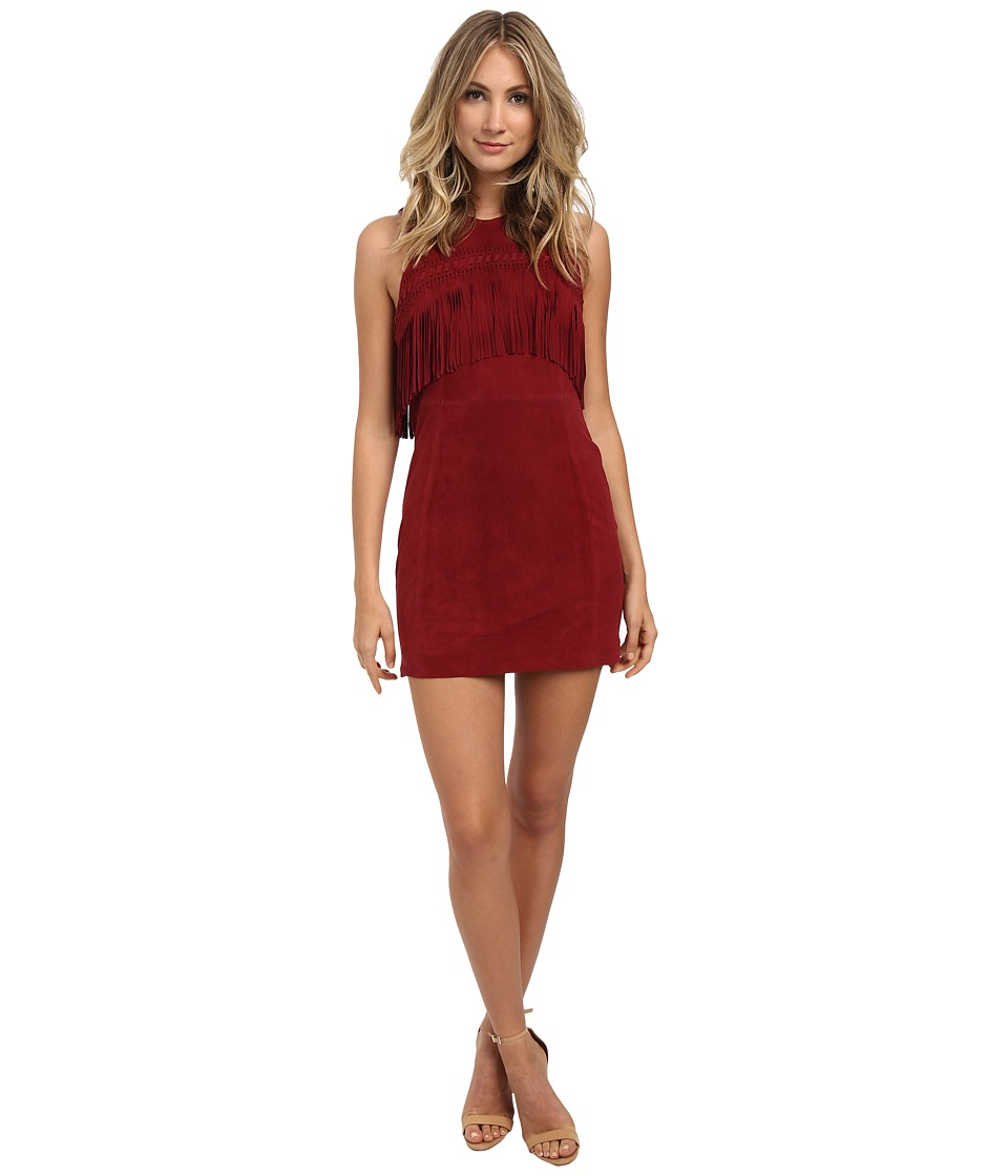 Rebecca Minkoff Sleeveless Frayed Dress (Cranberry) Women