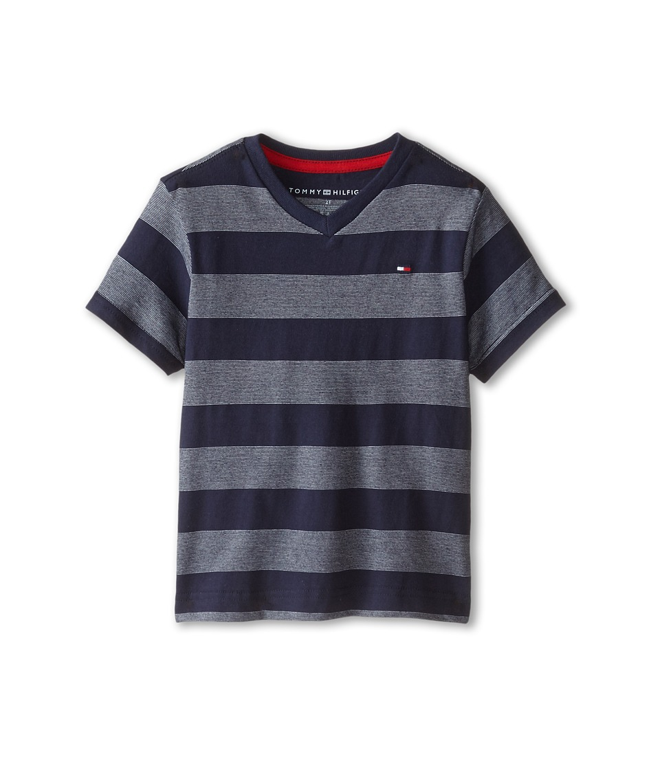 Tommy Hilfiger Kids - Jersey Stripe Short Sleeve V-Neck Tee (Toddler/Little Kids) (Tommy Hilfiger Swim Navy) Boy