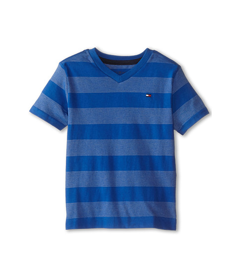 Tommy Hilfiger Kids - Jersey Stripe Short Sleeve V-Neck Tee (Toddler/Little Kids) (Blue Jean) Boy