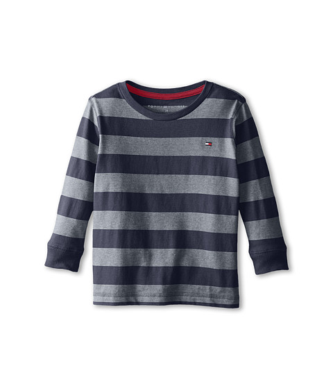 Tommy Hilfiger Kids - Jersey Stripe Long Sleeve Crew Tee (Toddler/Little Kids) (Tommy Hilfiger Swim Navy) Boy