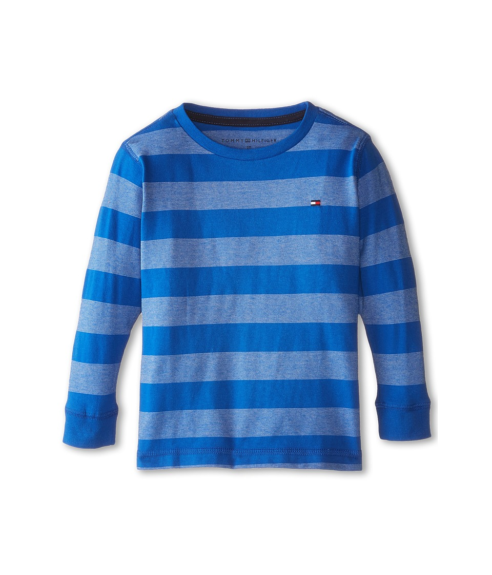 Tommy Hilfiger Kids - Jersey Stripe Long Sleeve Crew Tee (Toddler/Little Kids) (Blue Jean) Boy