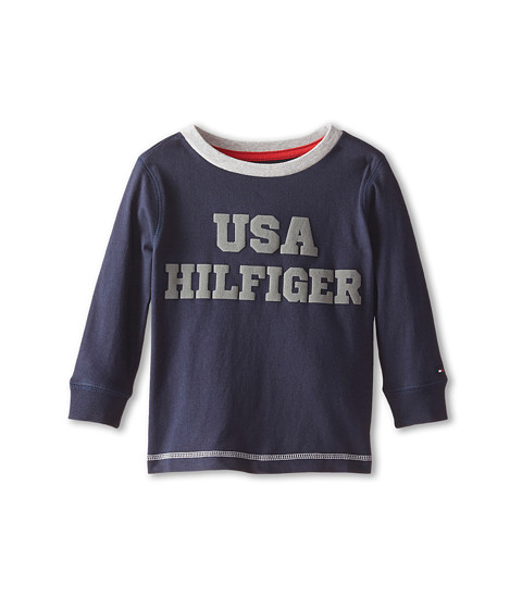 Tommy Hilfiger Kids - Long Sleeve USA Hilfiger Tee (Toddler/Little Kids) (Swim Navy) Boy