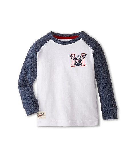 Tommy Hilfiger Kids - Marled Long Sleeve Crew Tee (Toddler/Little Kids) (White) Boy's T Shirt
