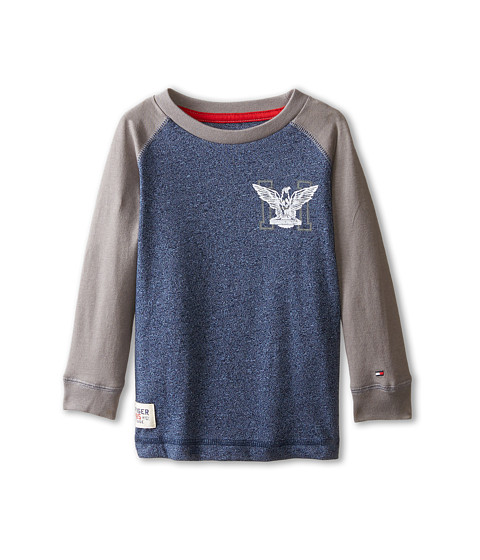 Tommy Hilfiger Kids - Marled Long Sleeve Crew Tee (Toddler/Little Kids) (Tommy Hilfiger Swim Navy) Boy