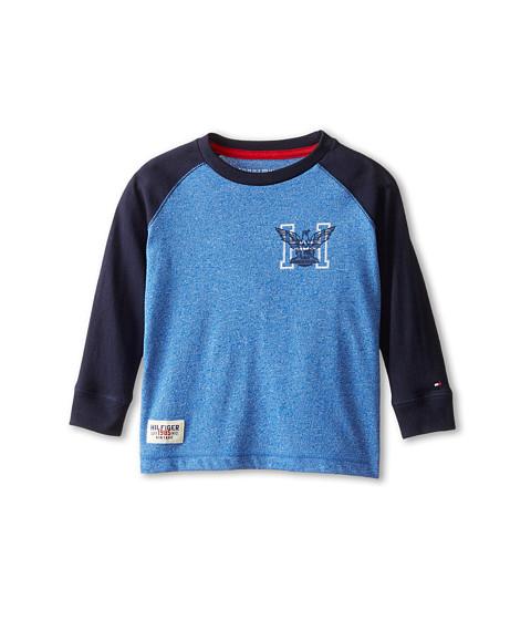 Tommy Hilfiger Kids - Marled Long Sleeve Crew Tee (Toddler/Little Kids) (Blue Jean) Boy
