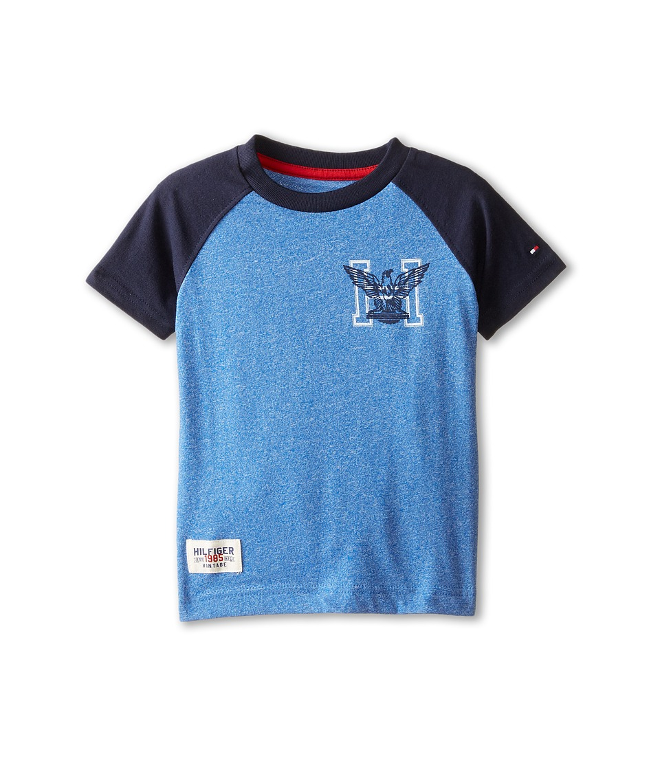 Tommy Hilfiger Kids - Marled Short Sleeve Crew Tee (Toddler/Little Kids) (Blue Jean) Boy's T Shirt