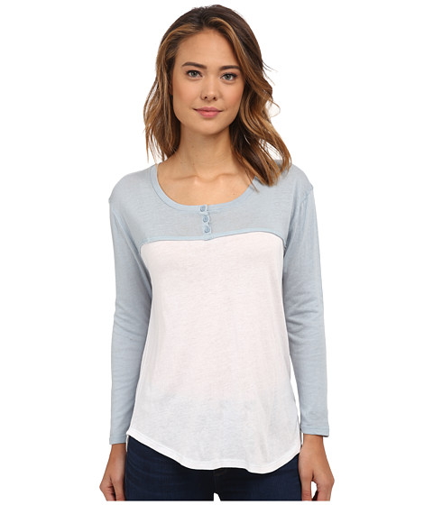 Volcom - Block It Henley (Washed Blue) Women's Long Sleeve Pullover