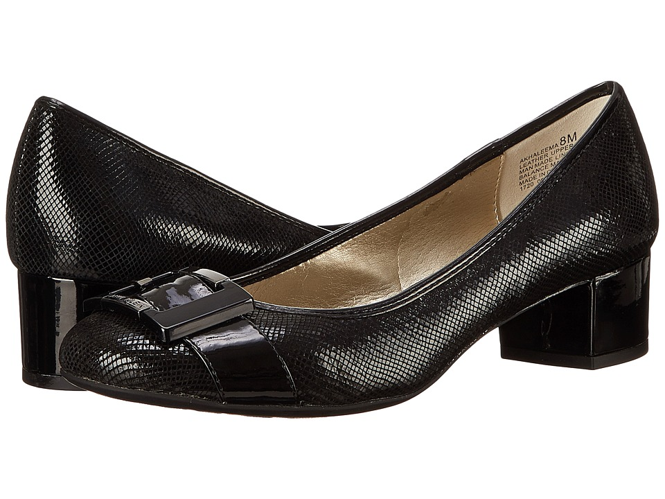 Anne Klein - Haleema (Black Leather) Women's 1-2 inch heel Shoes