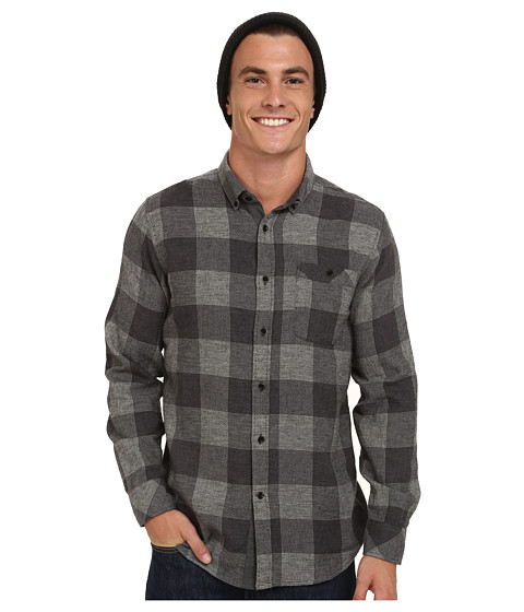 VISSLA - Alpha Check Flannel Long Sleeve (Black) Men