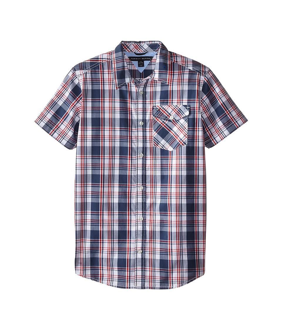 Tommy Hilfiger Kids - Short Sleeve Woven Kirk (Big Kids) (Worn Indigo) Boy's Clothing