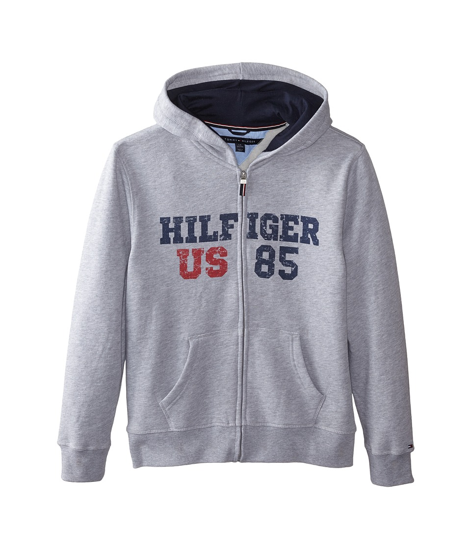 Tommy Hilfiger Kids - Long Sleeve Hilfiger Hoodie (Big Kids) (Grey Heather) Boy's Sweatshirt