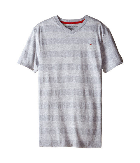 Tommy Hilfiger Kids - Jersey Stripe Short Sleeve V-Neck Tee (Big Kids) (Grey Heather) Boy