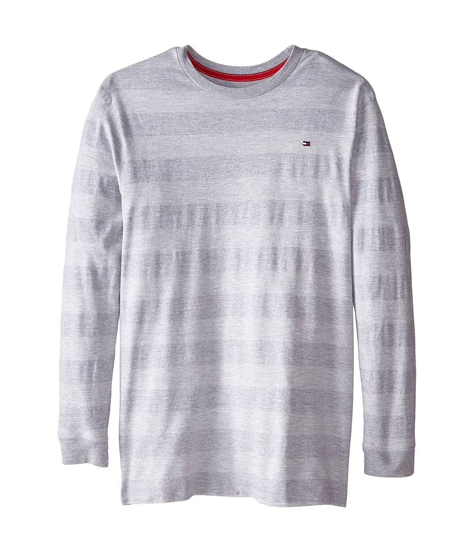 Tommy Hilfiger Kids - Jersey Stripe Long Sleeve Crew Tee (Big Kids) (Grey Heather) Boy's T Shirt