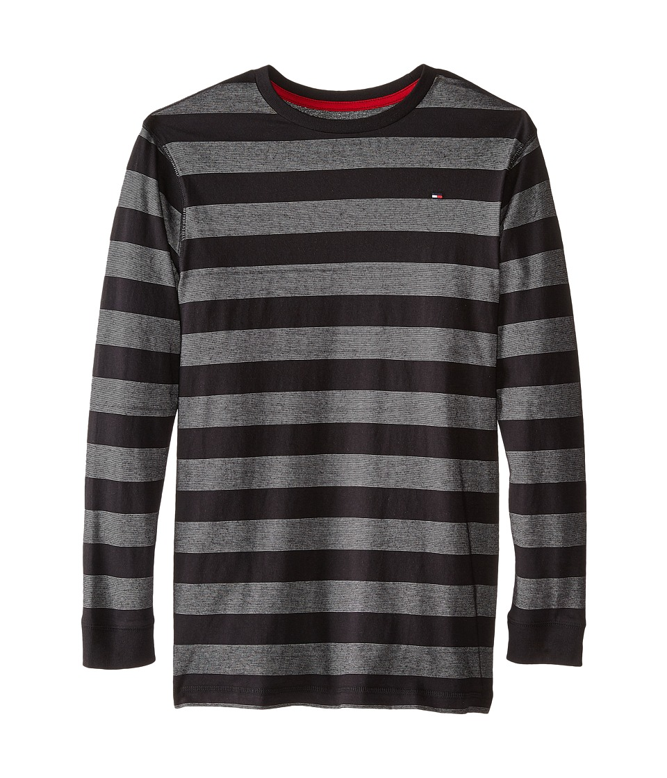 Tommy Hilfiger Kids - Jersey Stripe Long Sleeve Crew Tee (Big Kids) (Tommy Black) Boy