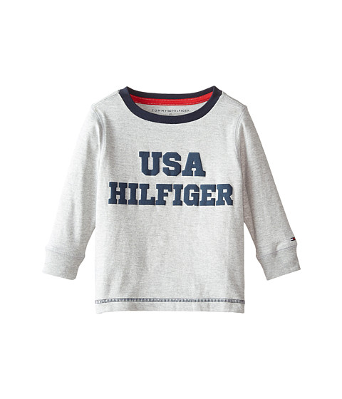 Tommy Hilfiger Kids - Long Sleeve USA Hilfiger Tee (Toddler/Little Kids) (Grey Heather) Boy
