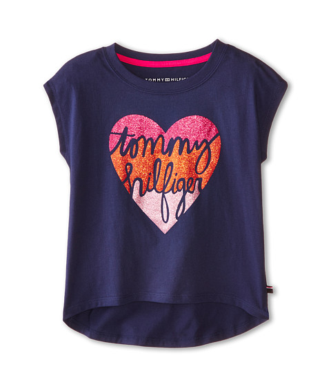 Tommy Hilfiger Kids - Tommy Heart Graphic Tee (Big Kids) (Flag Blue) Girl