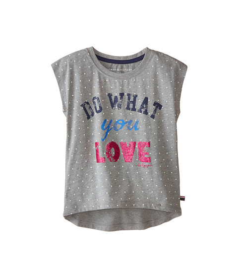 Tommy Hilfiger Kids - Do What You Love Graphic Tee (Big Kids) (Storm Heather) Girl