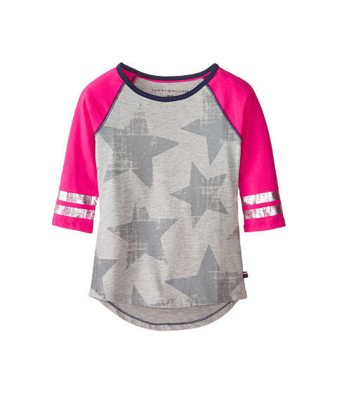 Tommy Hilfiger Kids - 3/4 Babseball Tee (Big Kids) (Pearl Heather) Girl's T Shirt