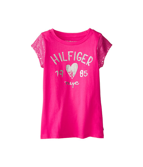Tommy Hilfiger Kids - Sequin Sleeve Signature Tee (Big Kids) (Lollipop) Girl's T Shirt