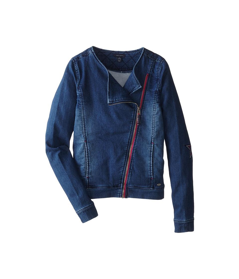 Tommy Hilfiger Kids - Knit Denim Moto Jacket (Big Kids) (Indigo Blue) Girl's Coat