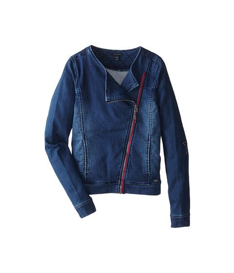 Tommy Hilfiger Kids - Knit Denim Moto Jacket (Big Kids) (Indigo Blue) Girl