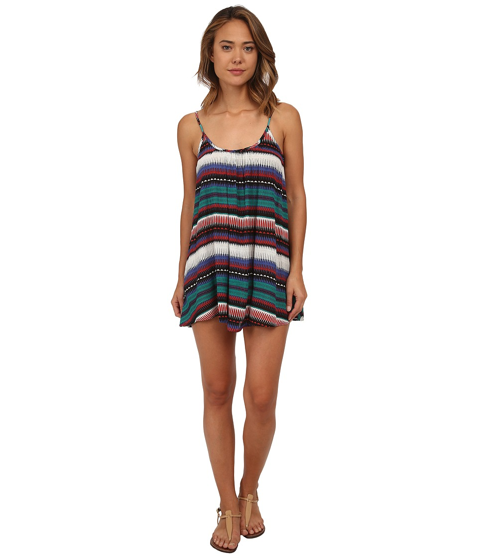 Roxy - Sweet Vida Printed Dress Cover-Up (Teal) Women's Swimwear