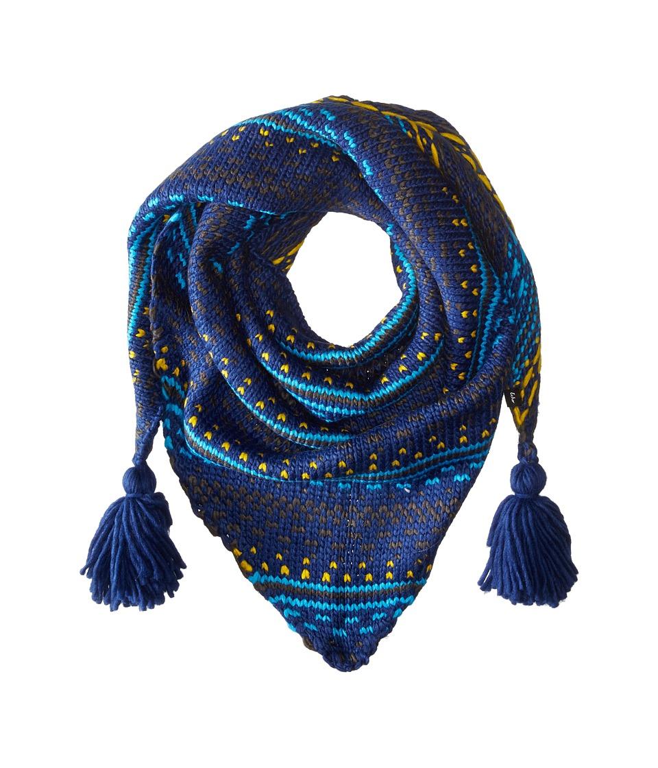 echo design float stitch triangle scarf ultra marine