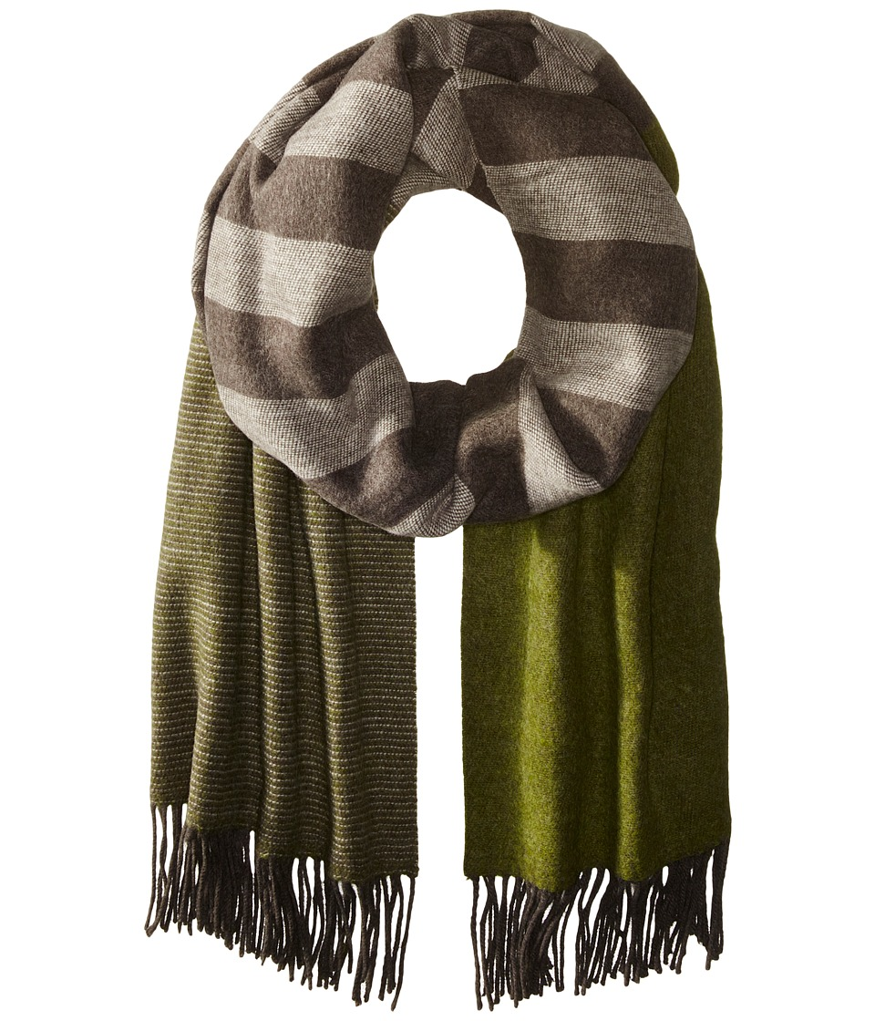 Echo Design - Soft Stripe Blanket Wrap (Olive) Scarves