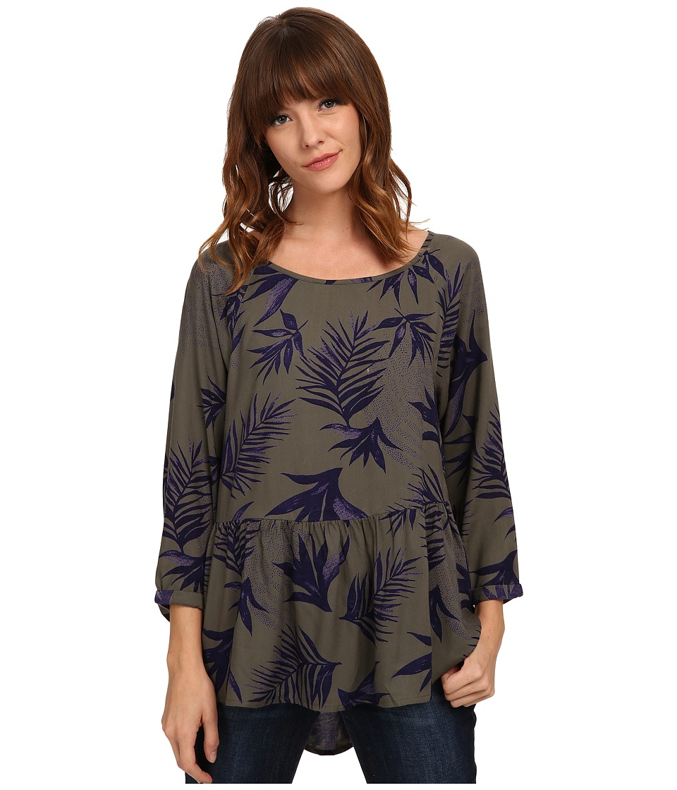 Roxy - Landslide Top (Indo Floral Dusty Olive) Women's Long Sleeve Pullover