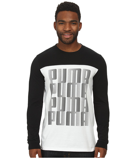 PUMA - Graphic Long Sleeve Tee (Black) Men's T Shirt