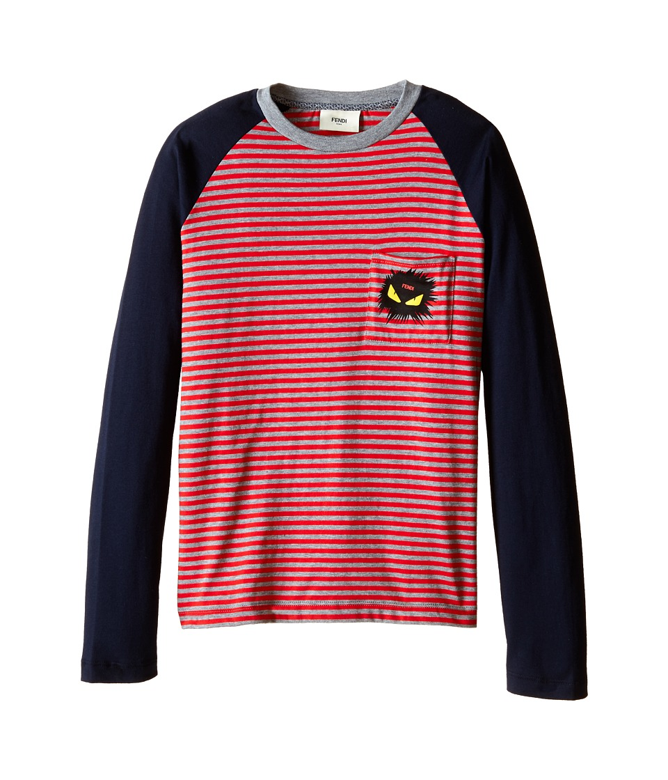 Fendi Kids - Long Sleeve Shirt with Stripe Detail (Big Kids) (Red/Blue) Boy's Long Sleeve Pullover