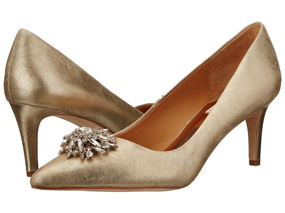 Badgley Mischka - Gardenia II (Platino Metallic Suede) High Heels