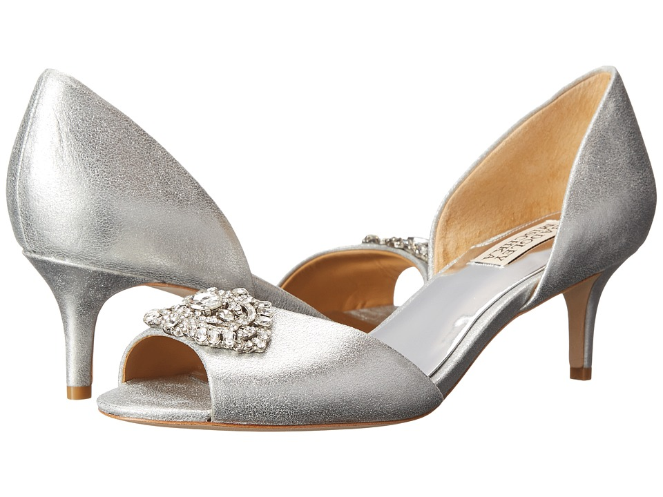 Badgley Mischka - Petrina II (Silver Metallic Suede) Women's 1-2 inch heel Shoes