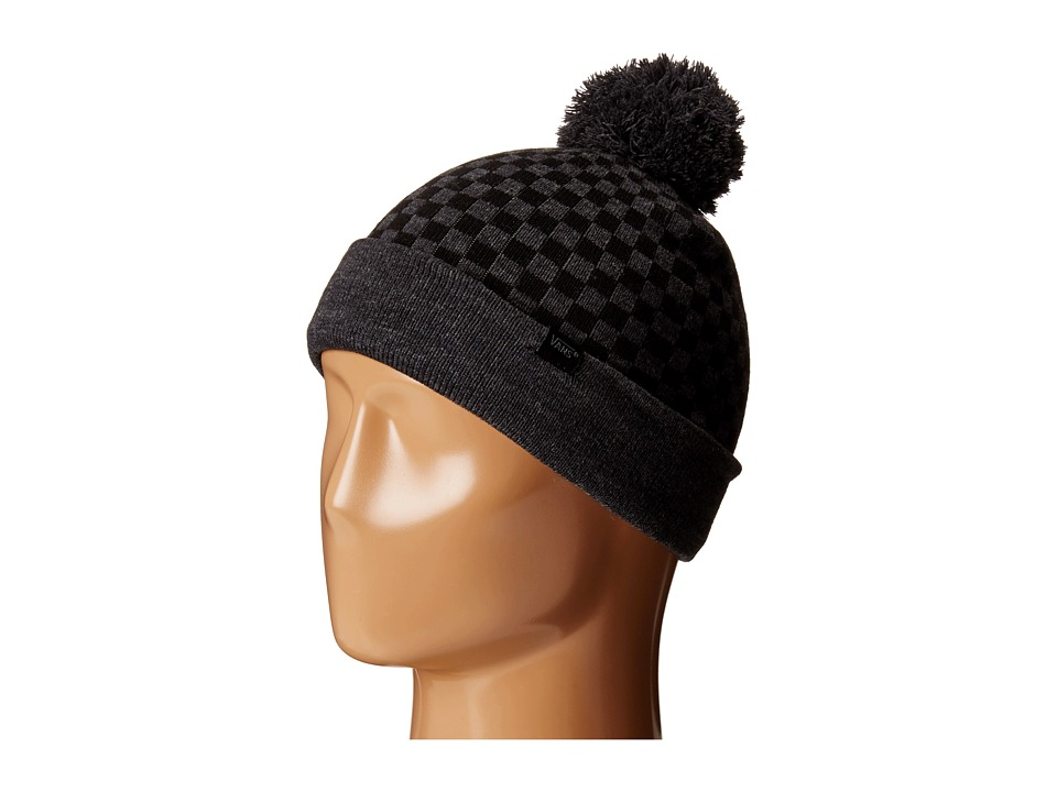 Vans - Checkerboard Pom Pom Beanie (Big Kids) (Heather Black) Beanies