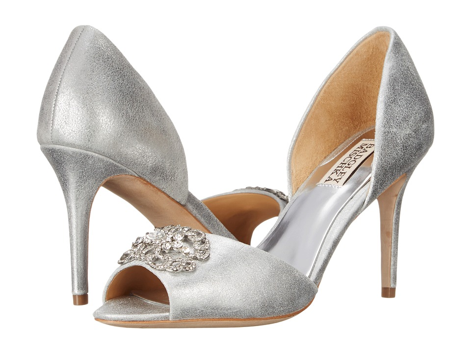 Badgley Mischka - Seneca II (Silver Metallic Suede) High Heels