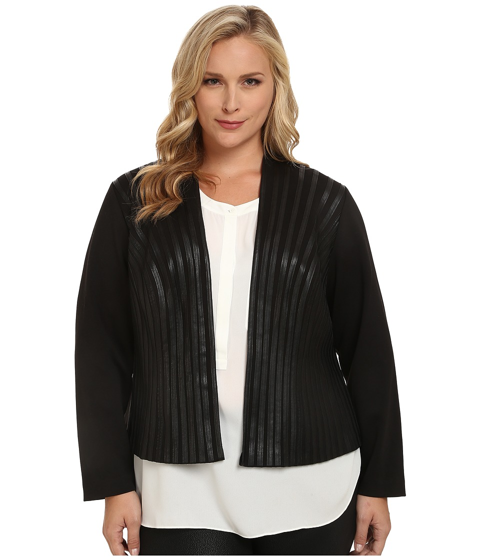 Calvin Klein Plus - Plus Size Open Jacket w/ Faux Leather Tipping (Black) Women's Coat