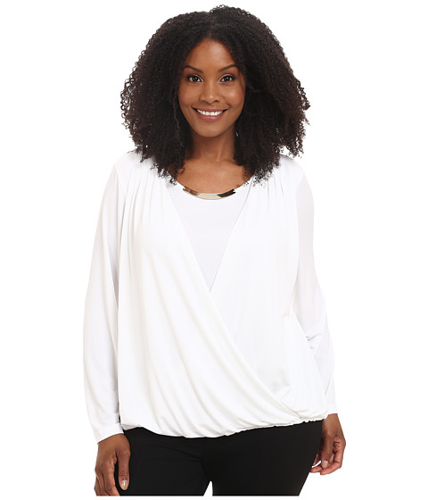 Calvin Klein Plus - Plus Size Long Sleeve Wrap Top w/ Gold Bar Hardware (Soft White) Women