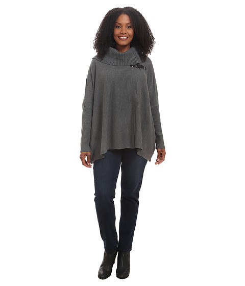 Calvin Klein Plus - Plus Size Sweater Cape w/ Buckle (Heather Charcoal) Women
