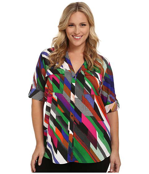 Calvin Klein Plus - Plus Size Print Crew Neck Roll Sleeve (Fern Combo) Women