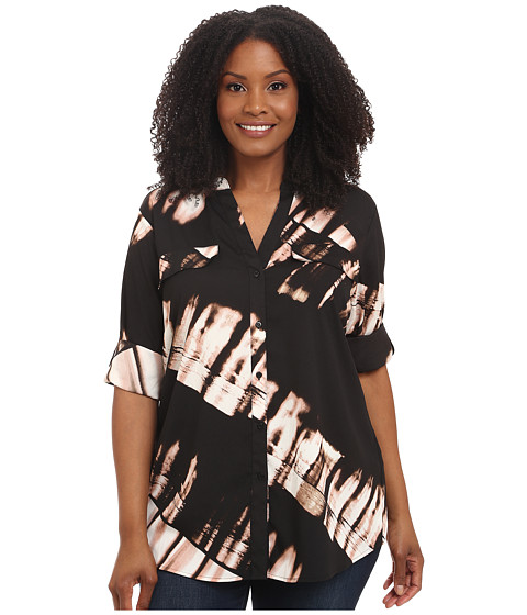 Calvin Klein Plus - Plus Size Print Crew Neck Roll Sleeve (Black/Blush Multi) Women's Blouse