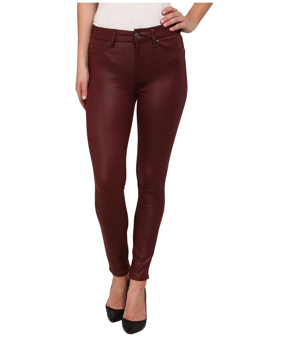 7 For All Mankind - High Waist Ankle Knee Seam Skinny in Merlot Crackle (Merlot Crackle) Women's Jeans