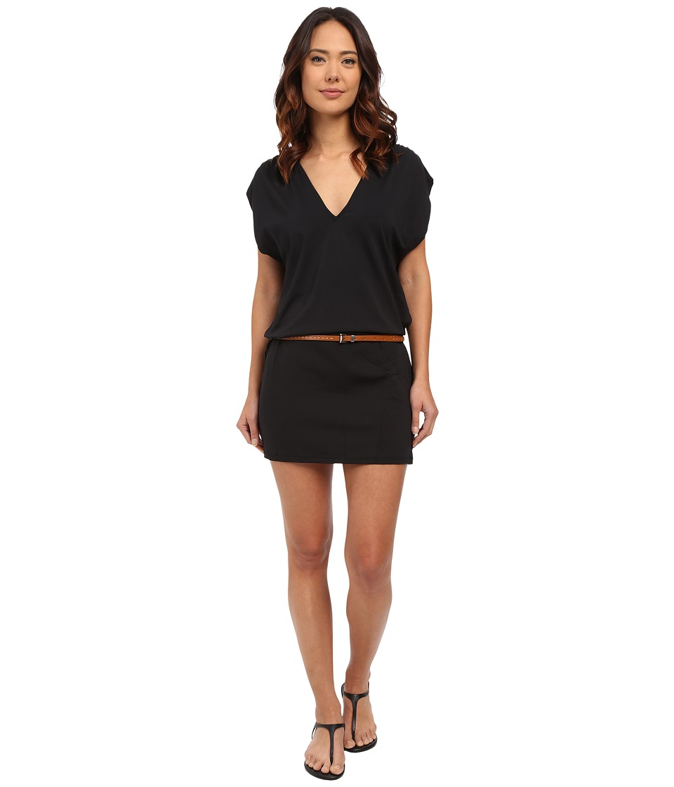 Michael Kors - Garden Solids Draped V-Neck w/ Belt Cover-Up (Black) Women's Swimwear