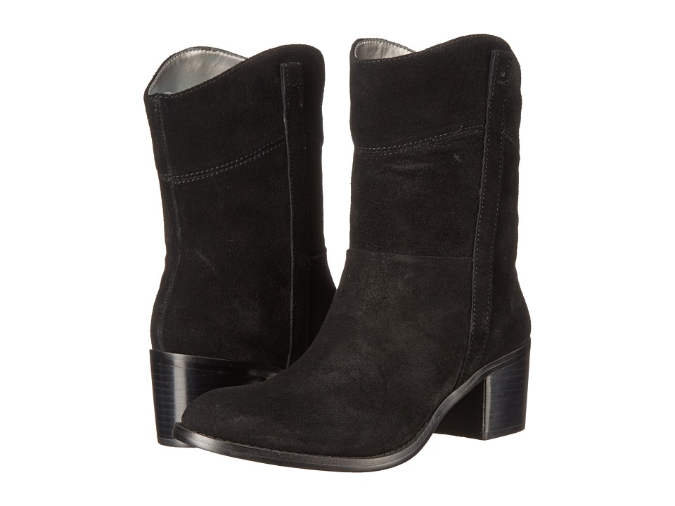 Adrienne Vittadini - Fonzie (Black Burnished Split Suede) Women's Zip Boots