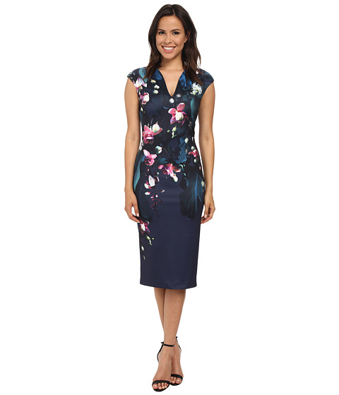 Ted Baker - Antonya Fuchsia Floral Midi Dress (Dark Blue) Women's Dress