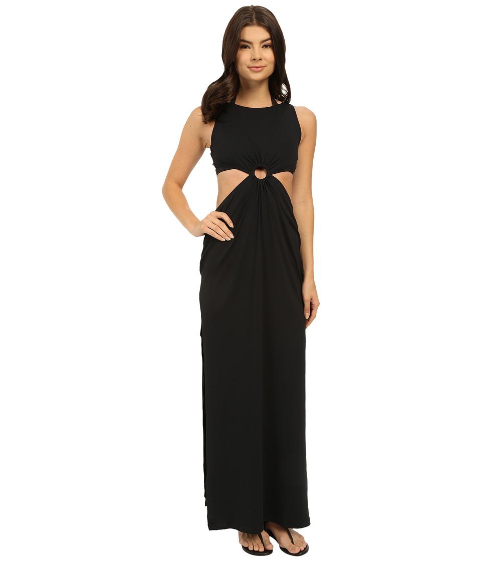 Michael Kors - Draped Solids Open Back Cover-Up Dress (Black) Women's Swimwear