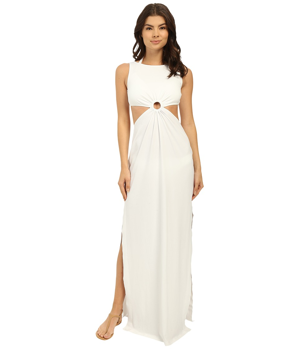 Michael Kors - Draped Solids Open Back Cover-Up Dress (White) Women's Swimwear