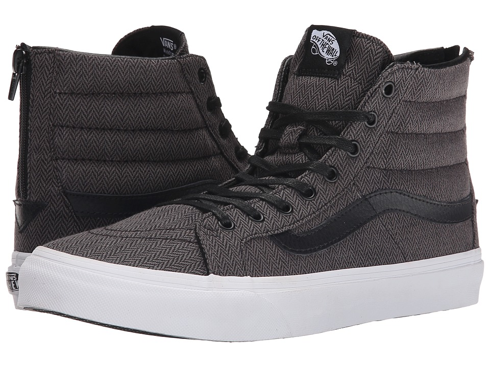 SK8-Hi Slim Zip ((Herringbone Tweed) Black/Leather) Skate Shoes